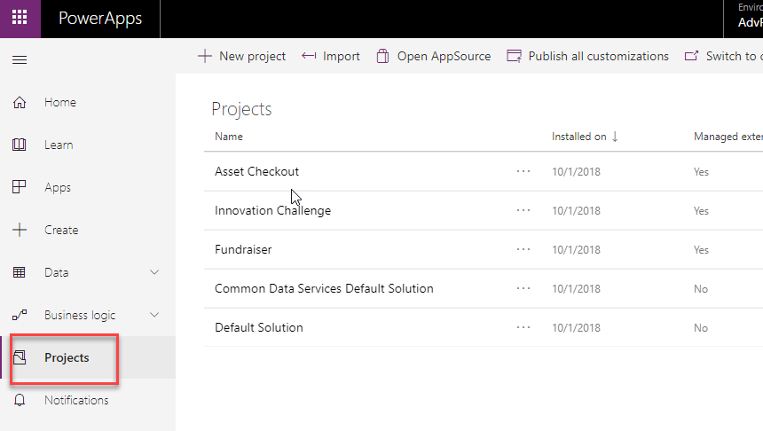 PowerApps Projects = Solutions